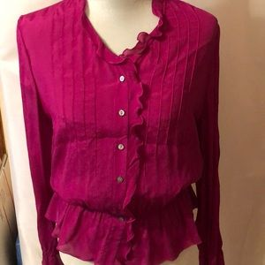 INC deep pink long sleeve shear crepe top